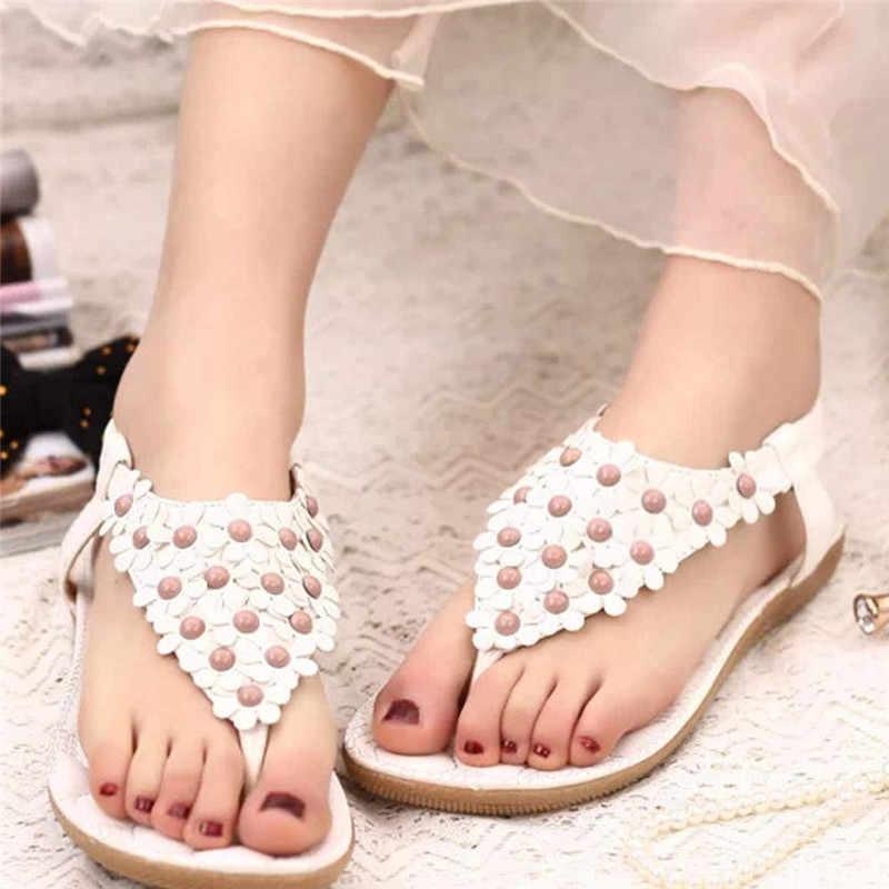 חדש נשים סנדלי קיץ בוהמיה מתוק חרוזים סנדלי קליפ הבוהן סנדלי חוף נעלי עור שטוח Sandalias Mujer sapato feminino