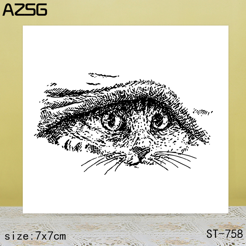 AZSG Big eyes cat Clear Stamps/Seals For scrapbooking DIY Card Making/Album Silicone Decoration crafts