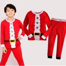 Explosion classic Christmas pattern Childrens pajamas set cartoon home clothes elk New Year Santa Claus