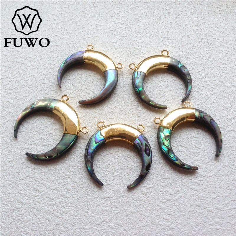 FUWO Carved Abalone Shell Crescent Pendant With 24K Gold Filled Fashion Double Bails Seashell Beach Paua Jewelry Wholesale PD556