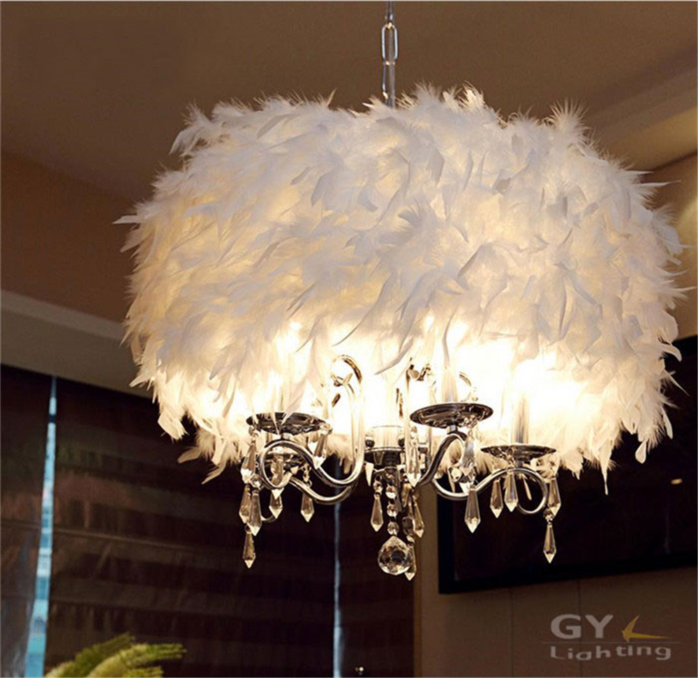 Modern art decor feather lampshade lustres chandelier for Luminaire suspendu