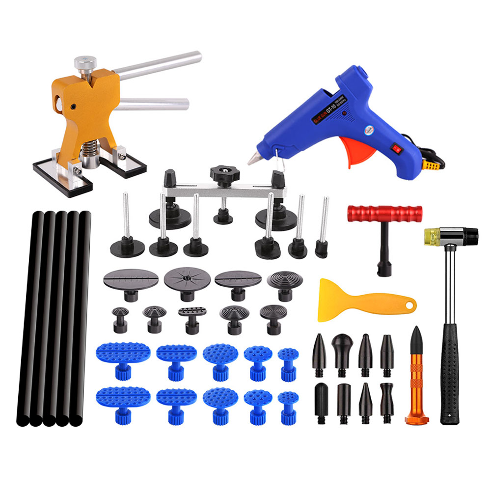 Dent Removal Paintless Dent Repair Tools Car Dent Repair auto body Dent Puller pdr pulling bridge Glue tabs Hammer Hand Tool Set pdr toolkit auto repair tool to remove dents car body repair paintless dent repair pulling bridge 12 v glue gun