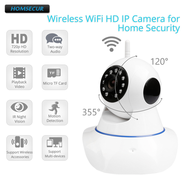 HOMSECUR Motion Detection Wireless WiFi HD IP Camera IOS/Android APP