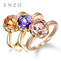 ENZO Classic Natural Gemstone 1.07Ct Citrine/Amethyst/Morganite With 0.03 Ct Diamond Ring Gift For Women Fine Jewelry