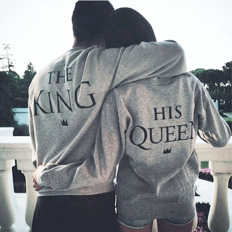 Valink 2017 The King&His Queen Men Women's Casual Lover Couple's Cotton Sweatshirts Hoodies for Autumn Winter