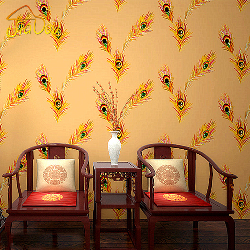 vintage phoenix peacock feather wallpaper roll ktv bar cafe clothing store living room background wallpaper for