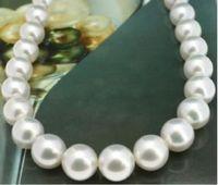 Новые красивые элегантные природный 10 11 мм Южных морей белый жемчужное ожерелье 18 дюймов желтый застежка