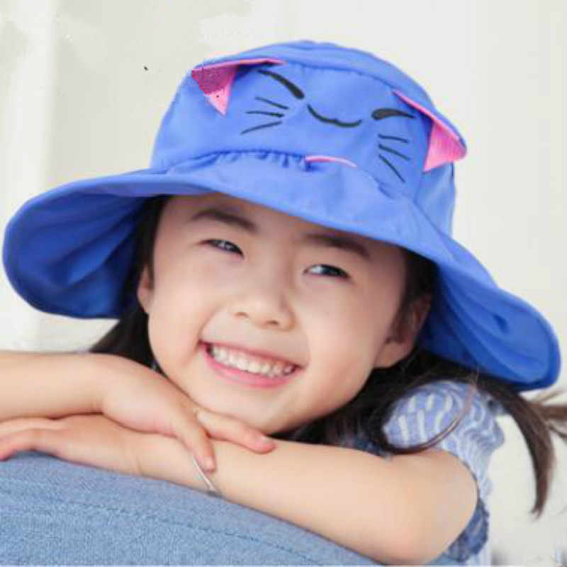495368d0 ... which in shower solid cartoon cat kids sun hat outdoor summer sunscreen  beach cap wide brim ...