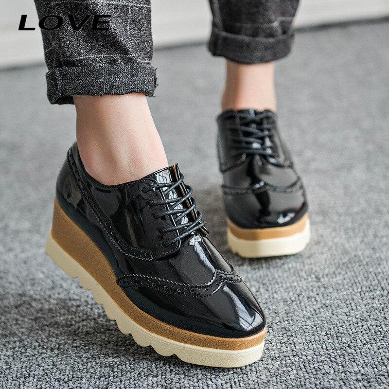 2016 Fashion Trick Bottom Women Oxfords Square Toe Patent Leather Platform Ladies Shoes Lace Up