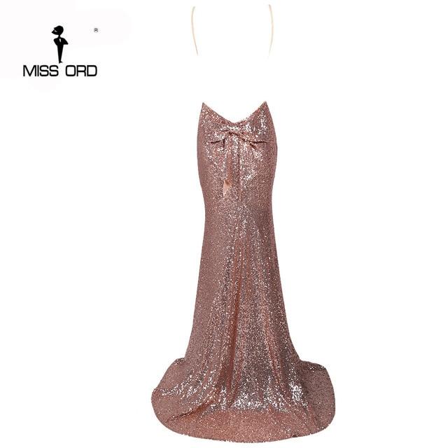 Missord 2019 Sexy halter Bow V-neck  party dress sequin maxi dress FT3995 5