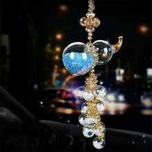 Car Rearview Mirror Pendant Charm Crystal Gourd Shape Hanging Ornament  Decoration Diamond