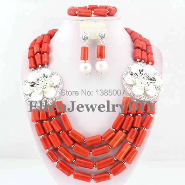 Nigerian Wedding Coral Beads Jewelry Red Coral Jewelry Set Necklace Bracelet Earrings African Beads Jewelry Sets W7385 costume african red coral beads necklace bracelet earrings jewelry set nigerian wedding jewelry sets free shipping cj240