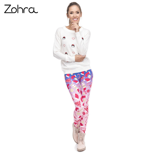 Zohra New Design Women Legging Christmas Symbols Ombre Printing Fitness Leggings High Waist Woman Pants 3