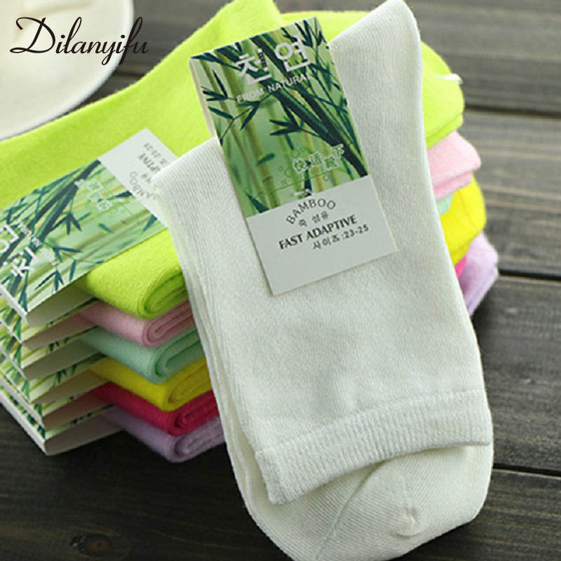 10pcs=5pairs/lot Autumn Winter Fashion Brand Funny Women Socks High Quality Bamboo Fiber Casual Crew Socks Female Size 35-41
