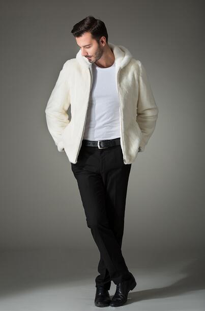 Weiße Mode mit Kapuze warme lässige Kunstfuchs Pelzmantel Herren - Herrenbekleidung - Foto 6