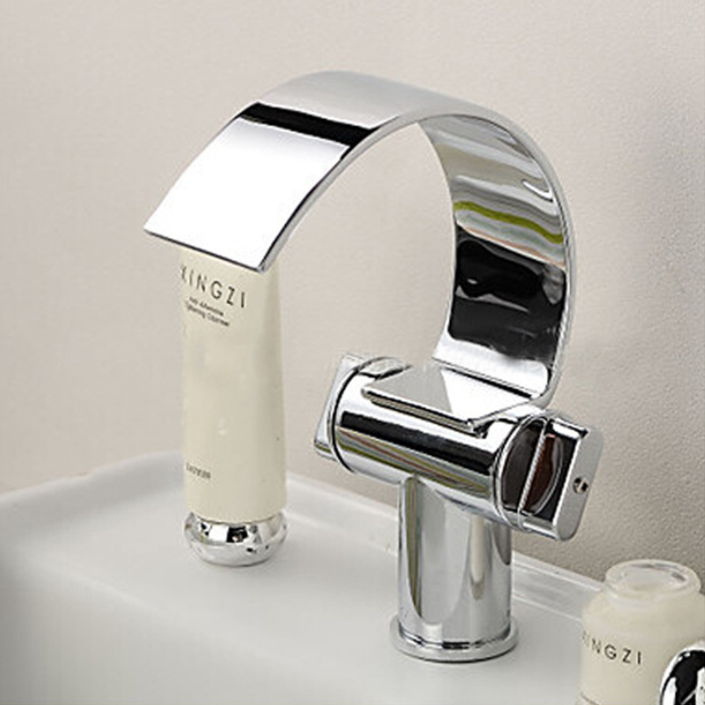 Novelty Curve Belt Design Chrome Waterfall Mixer Tap Basin Faucet ...