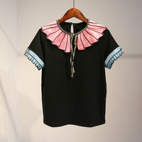 MAPUSTIOM Summer New Lotus Leaf Side Sequins Decoration Lacing Women T Shirts 2017 Fashion Women Black