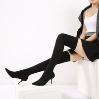 Women High Heels Sock Boots Stretch Fabric Shoes Woman Over Knee Socks Thigh High Boots Stiletto Chic Party Shoes Bota Feminina