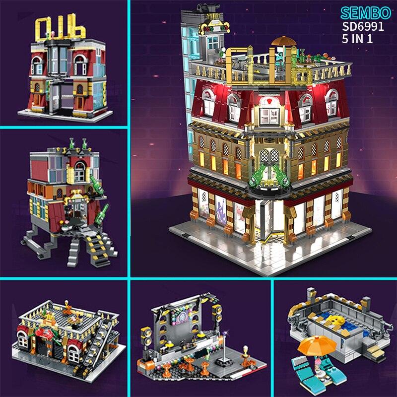 Sembo MOC City StreetView 5in1 Nightclub Bar Resort Hotel Compatible LeSet Building Blocks Bricks Streetscape With