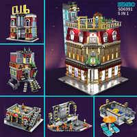 Sembo MOC City StreetView 5in1 Nightclub Bar Resort Hotel Compatible LeSet Building Blocks Bricks Streetscape With LED Light