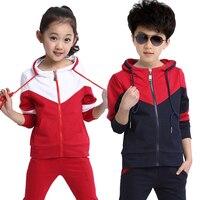 5-17 anos Meninos Primavera Crianças Roupas Crianças Grandes Roupas 2 Peça Define Outono Menino Manga Longa Sportswear Meninas Traje com capuz