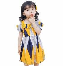 summer children girls dress European fashion short puff sleeve color print chiffon Dresses 3-8years baby New arrival 2019