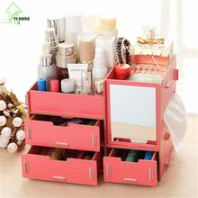 YIHONG Drawer Wooden Storage Boxes Creative Diy Cosmetic Storage Box Multi-function Office Desktop Storage Shelves Racks