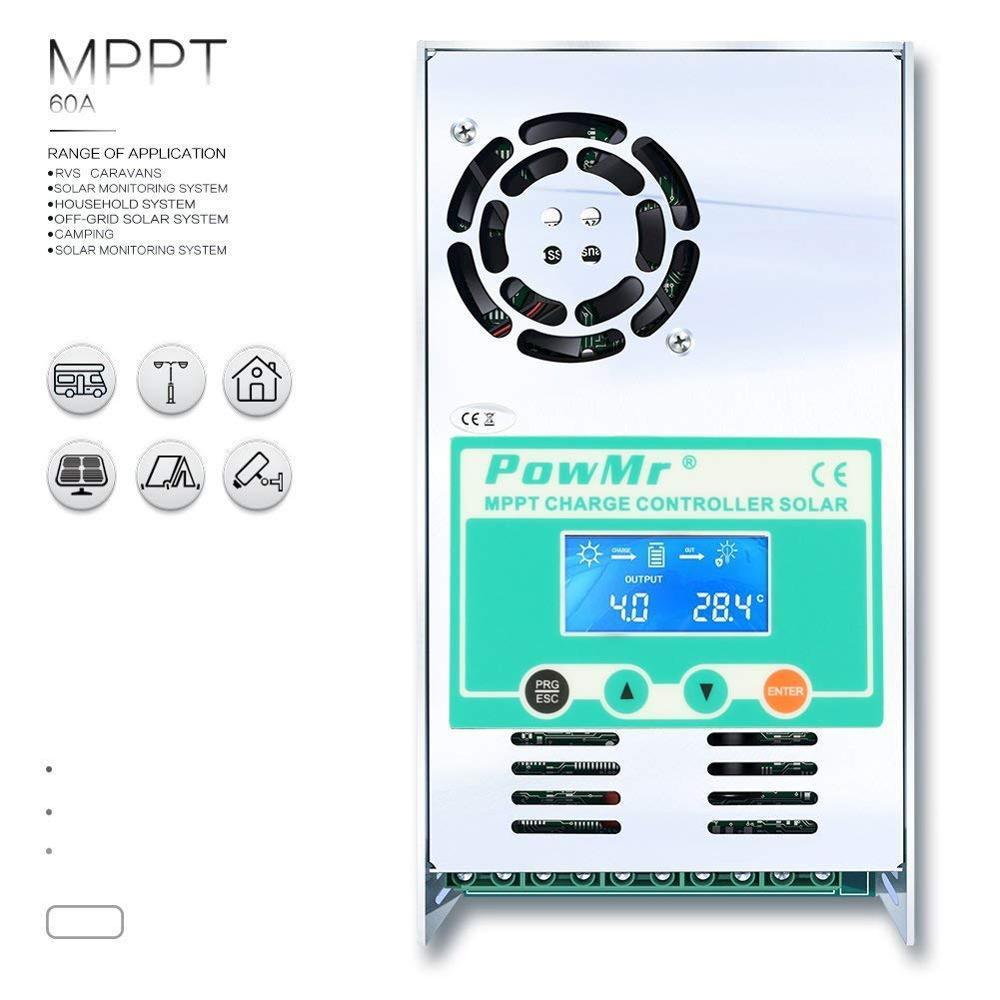 PowMr 120A 100A 60A MPPT контроллеры солнечного заряда 12 В 24 в 36 в 48 в авто 190 в PV ЖК-дисплей свинцово-кислотные литиевые регуляторы батарей