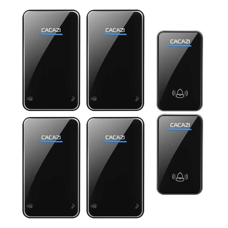 CACAZI waterproof wireless doorbell 2 transmitters+4 receivers 100-240V EU/US/UK plug door bell 300M remote 48 rings door chime 2 receivers 60 buzzers wireless restaurant buzzer caller table call calling button waiter pager system