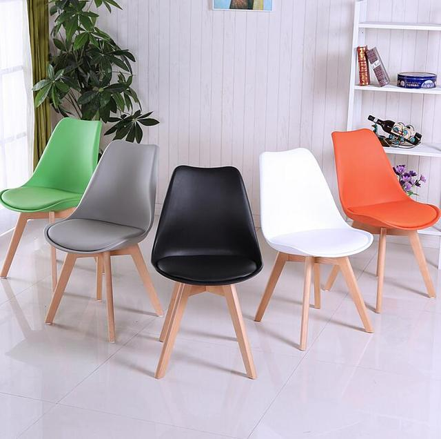 Leisure Tulip Upholstered Wooden Chair Furniture Ergonomic Office Colorful Stool Chair Wood