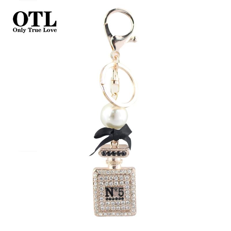 Sleutelhanger Auto Luxe Crystal Rhinestones parfumfles sleutelhanger sleutelhanger ringhouder Porte Clef Gift Mannen Vrouwen Souvenirs