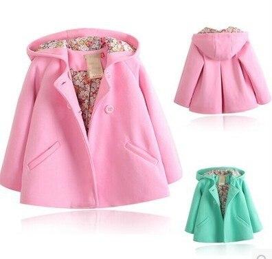 2016 Новорожденных Девочек шерсть зимние пальто верхняя одежда дети дети верхняя одежда одежда розовый куртки БЕСПЛАТНАЯ ДОСТАВКА