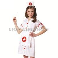 Halloween Children Stage Show Performance Clothes Female Child Nursing Uniforms Girl Nurse Surgeon White Dress Cosplay