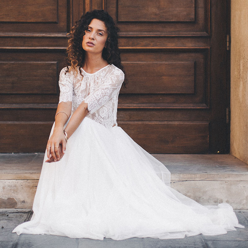 New Beach Wedding Dress Two Pieces Scoop Half Sleeve A-Line Lace Top White Ivory Floor Length Bride Dress Wedding Gown 2019