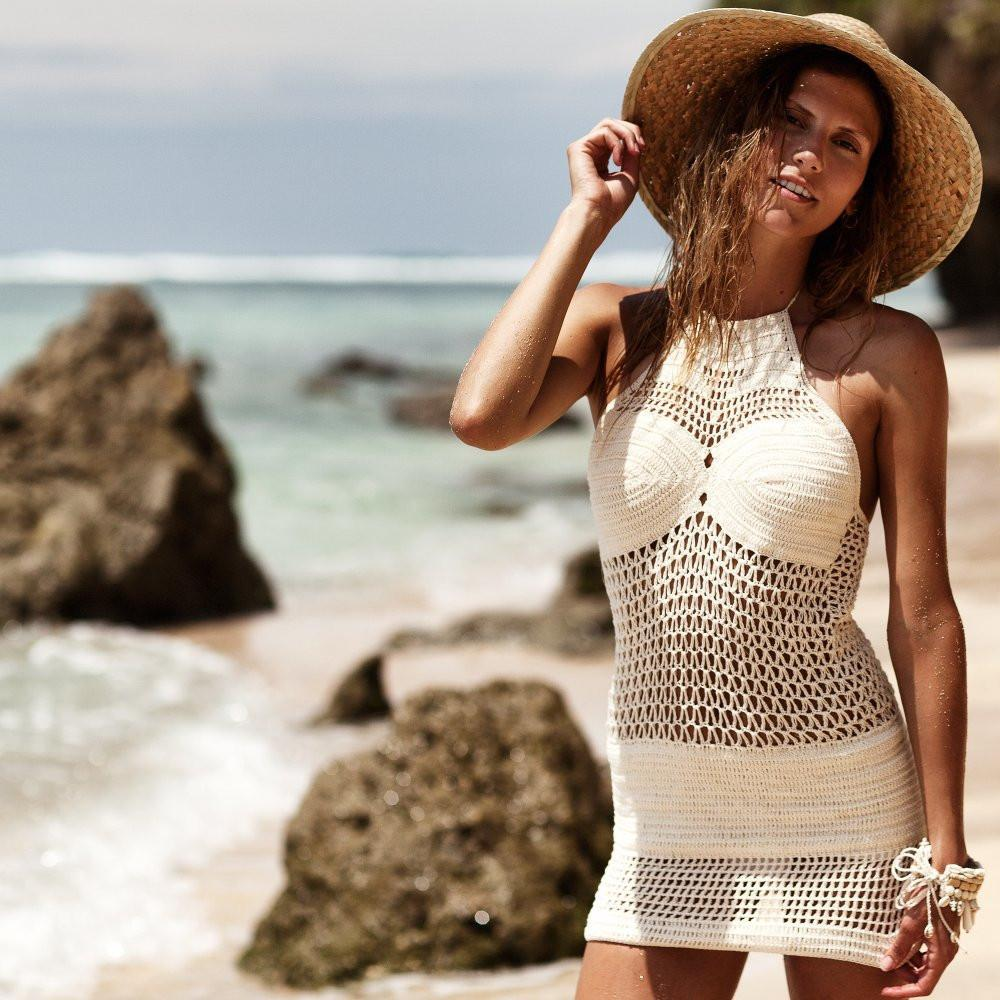 100% handmade Crochet Beach Dress Sexy Women hollow out bikini swimsuit Cover Up Women Robe De Plage Bathing Suit Cover Ups