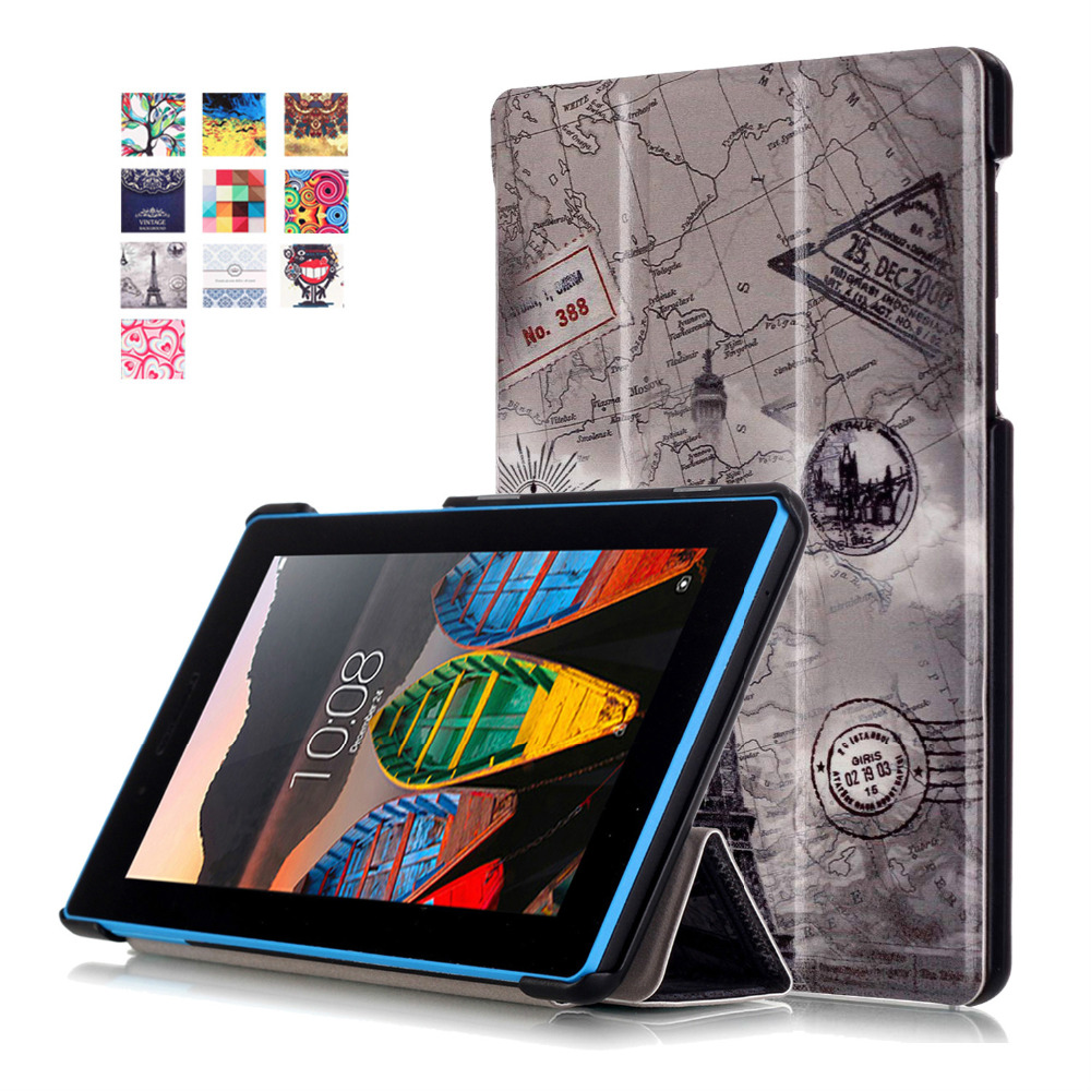 Color Painted Magnetic Smart Cover For Lenovo Tab3 7.0 Essential 710F710I Tablet cases PU Leather Case Flip stand Cover