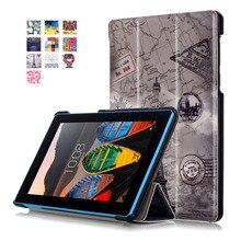 Color Pintado Magnética Smart Cover Para Lenovo Tab3 7.0 Esencial 710F/710I Tablet cases Caso Del soporte Del Tirón Del Cuero de LA PU cubierta