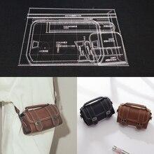 1 conjunto diy modelo de couro acrílico casa handwork leathercraft costura padrão ferramentas acessório bolsa ombro 125x100x230mm