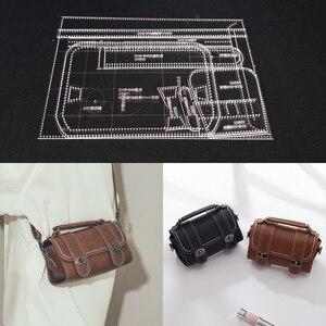 Image 1 - 1 ensemble bricolage acrylique cuir modèle maison travail manuel maroquinerie couture modèle outils accessoire sac à bandoulière 125x100x230mm