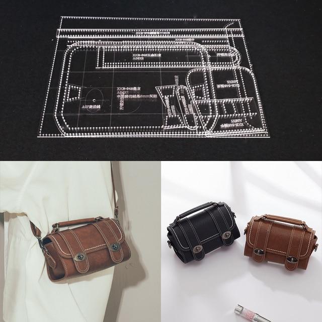 1 ensemble bricolage acrylique cuir modèle maison travail manuel maroquinerie couture modèle outils accessoire sac à bandoulière 125x100x230mm