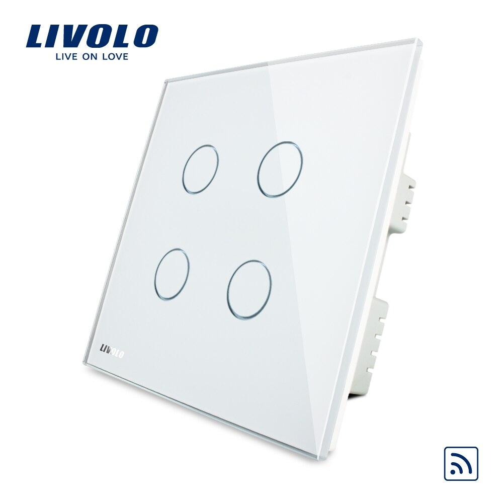 Livolo Великобритания стандарт 4 банды Беспроводной удаленным сенсорный выключатель, AC 220-250 В, кристалл Стекло Панель, VL-C304R-61, без пульта дистан...