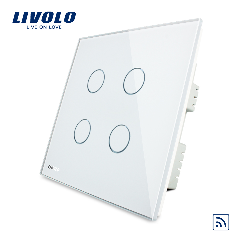 Livolo UK standard 4gang Wireless Remote Touch Switch , AC 220-250V ,White Crystal Glass Panel, VL-C304R-61,no remote controller 2017 smart home crystal glass panel wall switch wireless remote light switch us 1 gang wall light touch switch with controller