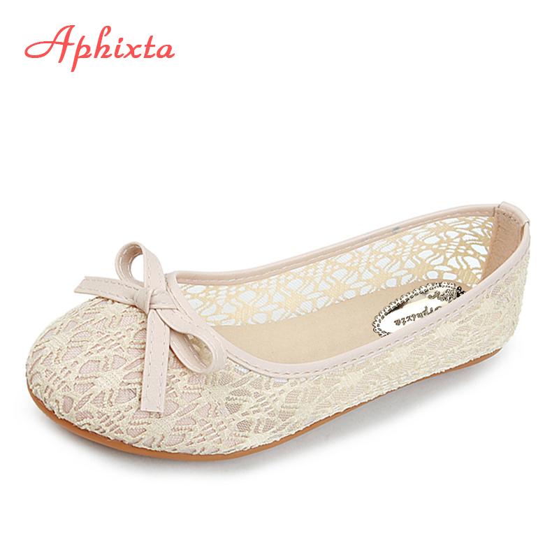 Aphixta Hollow Lace Flats Women Shoes Metal Casual Flat With Non-Slip Outdoor Shoes Beige Purple Plus Big Size 36-45 Loafers big size women casual flat shoes slip on ballerina flats hollow out flat loafers