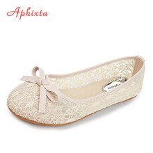 cd3cf4958 Aphixta الجوف الرباط الشقق النساء الأحذية المعدنية عارضة مسطحة مع الأحذية  عدم الانزلاق في البيج الأرجواني زائد حجم كبير 36-45 ال.
