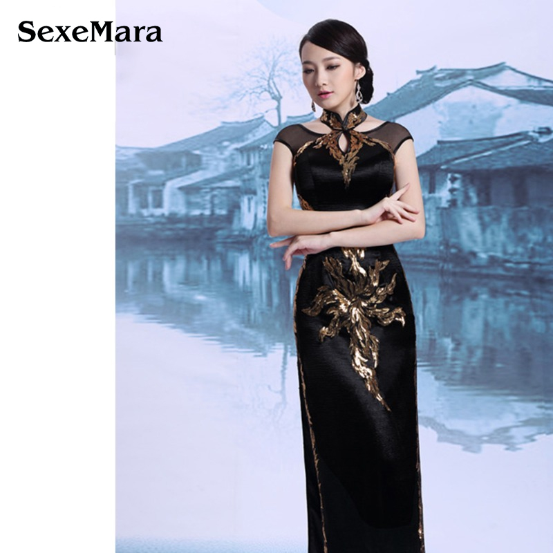 29e7f2f34 Luxury mature Women Evening Dresses China Traditional herve leger bandage  Qipao Embroidery Handmade Cheongsam Dresses A1032