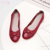 Chainingyee casual style round toe genuine leather rollable pumps bowknot black beige yellow red low heel women's shoes