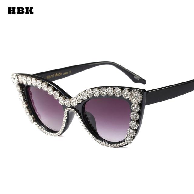 7f5ad9659a HBK diamante Sexy lujo del ojo De gato gafas De sol para las mujeres marca  De