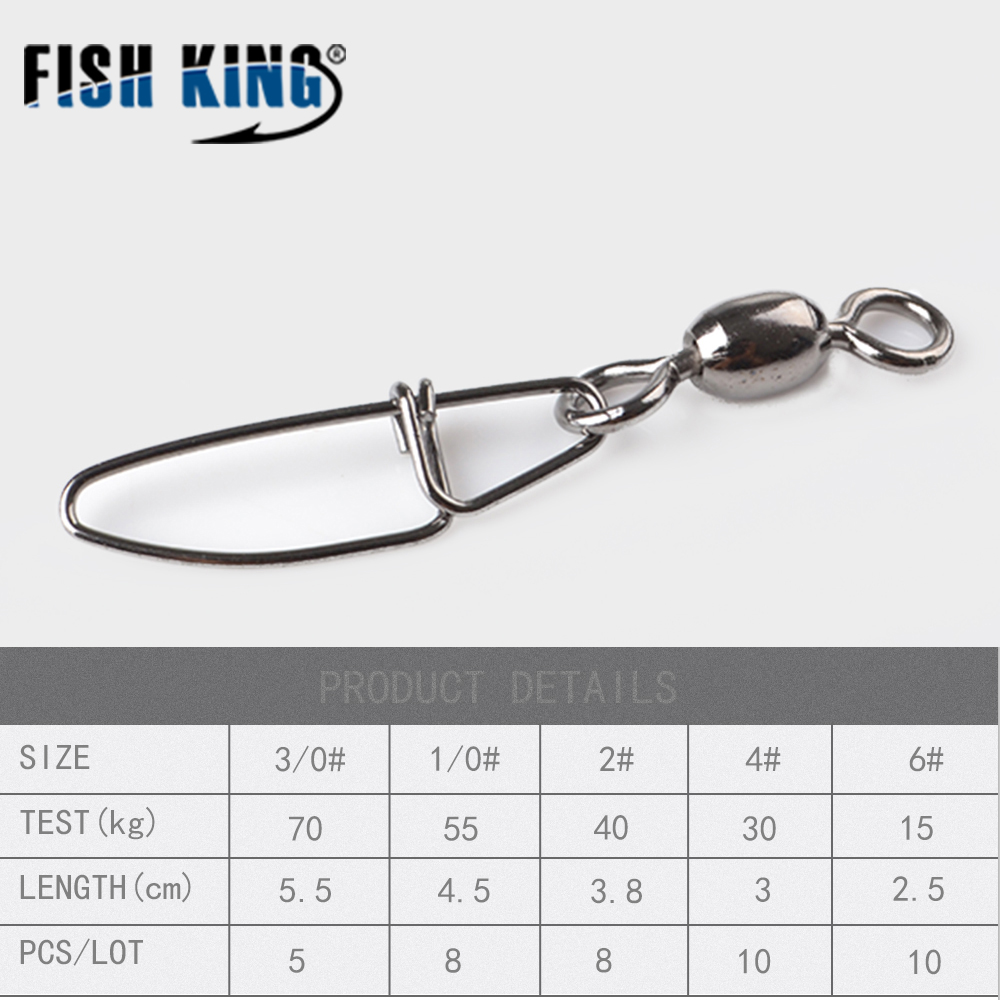 Fish King 3 01 0246 Fishing Connector Stainless Steel Pin Spinner Anti Karat No Bearing Rolling Swivel With Crosslock Snap Fishhook Lure Tackle In Lures From Sports