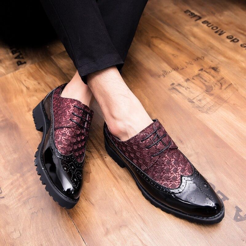 Nuit Chaussures Décontractée Club Richelieu Black Talon Bullock Dentelle Nouveau Mode Tailler Hommes Carré Style 3908 Agutzm Cuir Tissé En De red ZUzwvqCq
