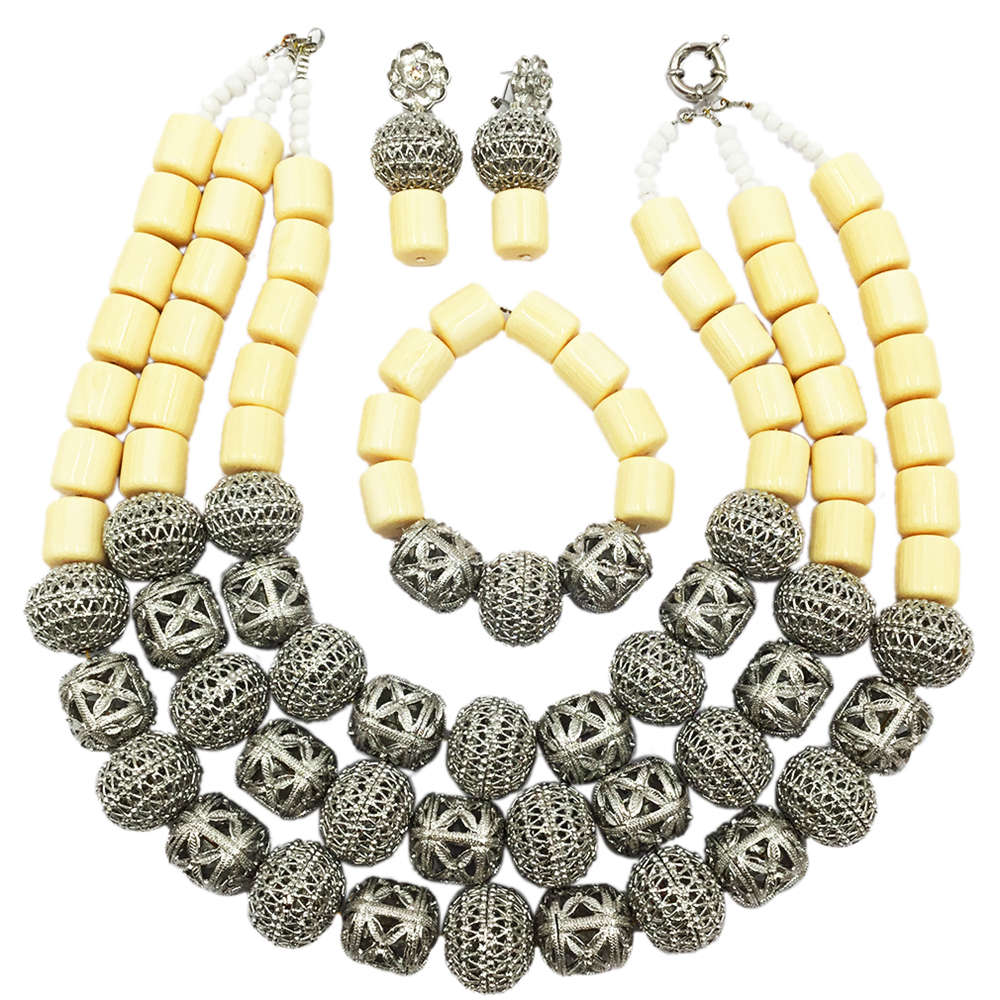 Fashion White Artificial Coral Beads Necklace Jewelry Set Nigerian Wedding African Jewelry Sets FSH-011